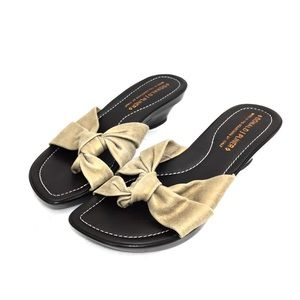Donald Pliner Gold Distressed Nubuck Sandals